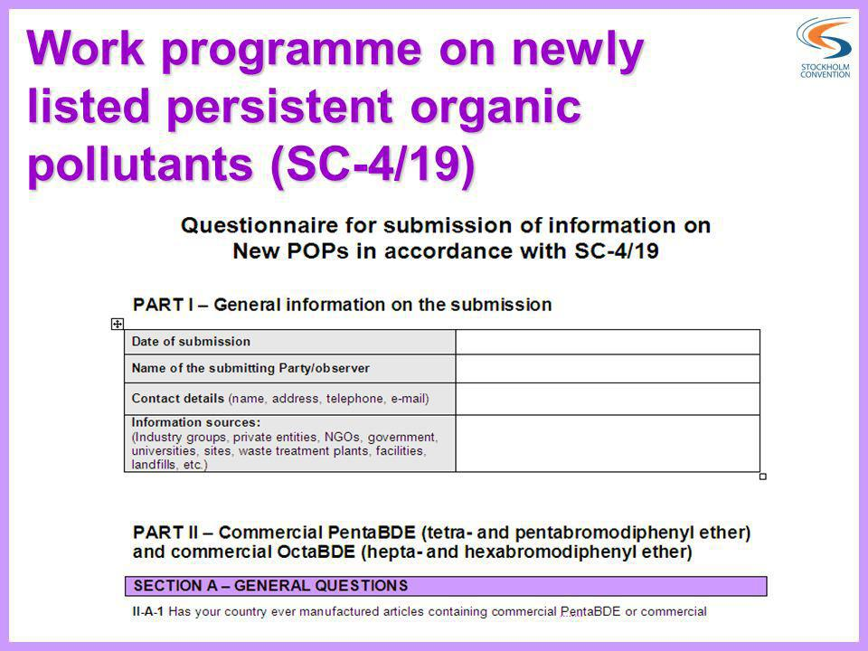 Work programme on newly listed persistent organic pollutants (SC-4/19)