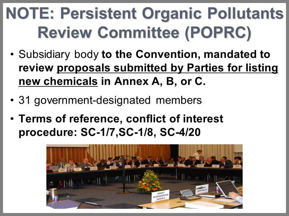 NOTE: Persistent Organic Pollutants Review Committee (POPRC)