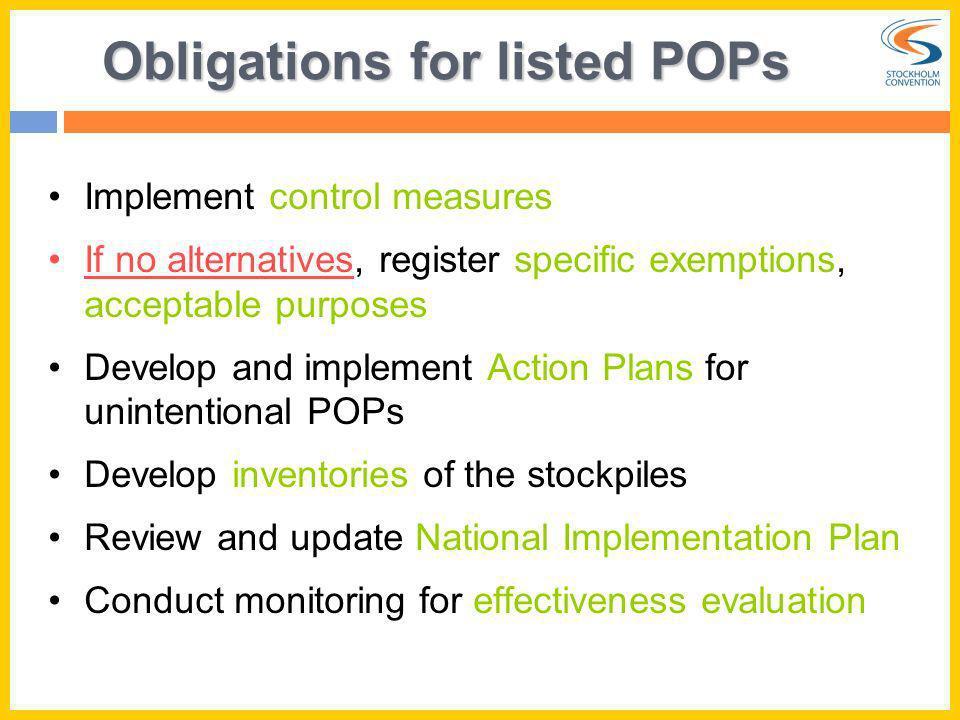 Obligations for listed POPs