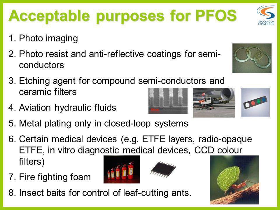 Acceptable purposes for PFOS