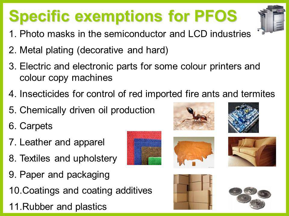 Specific exemptions for PFOS