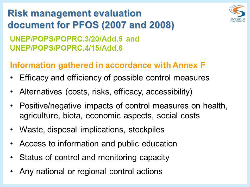Risk management evaluation document for PFOS (2007 and 2008)
