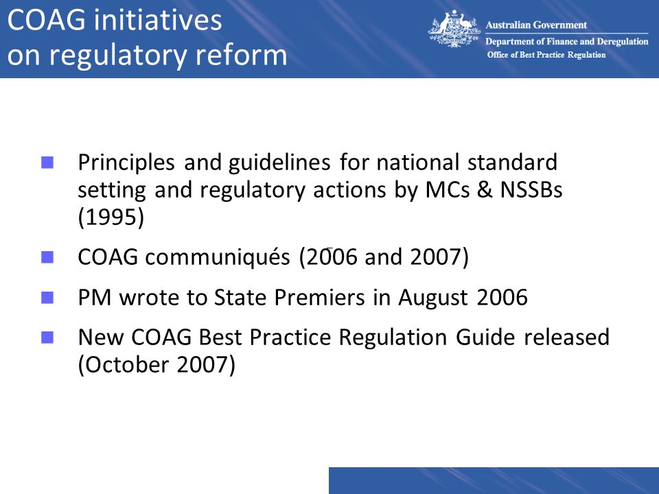 COAG initiatives on regulatory reform