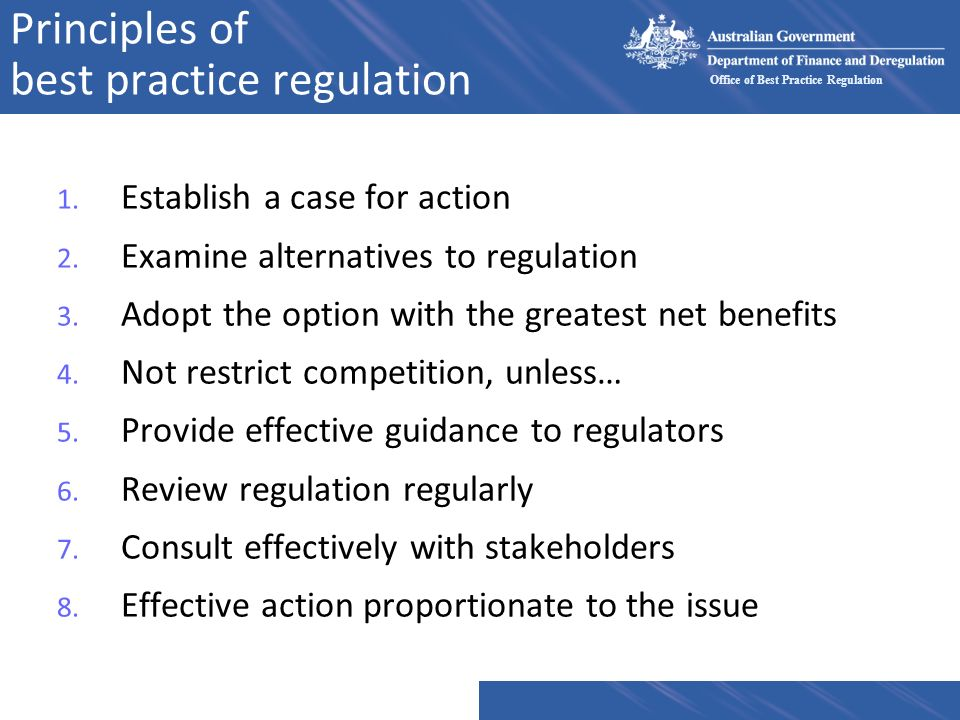 Principles of best practice regulation