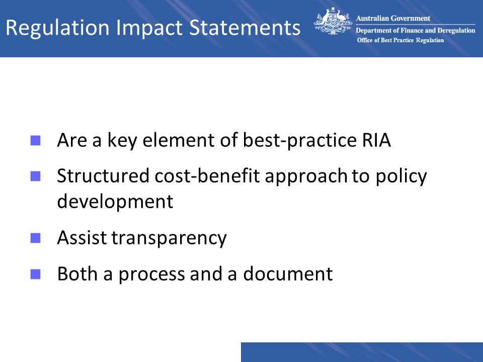 Regulation Impact Statements
