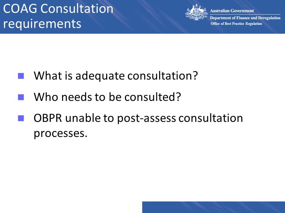 COAG Consultation requirements
