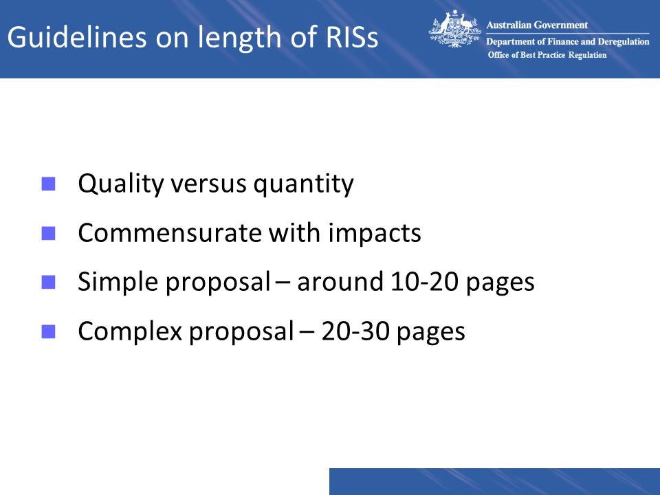 Guidelines on length of RISs