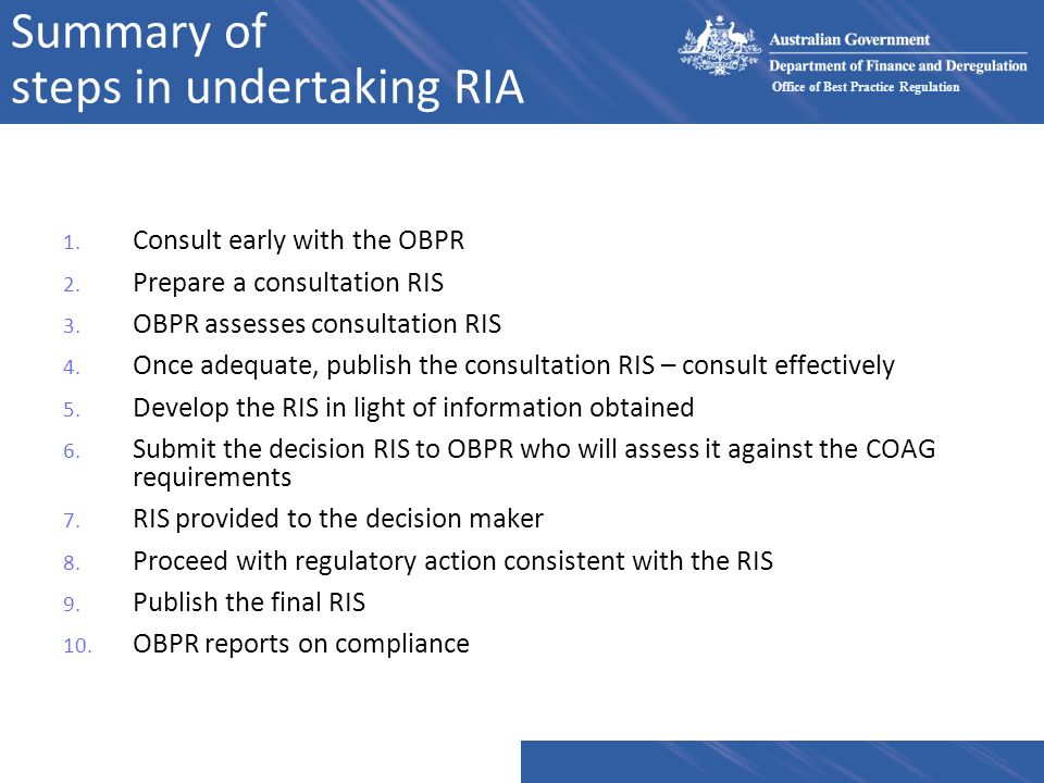 Summary of steps in undertaking RIA