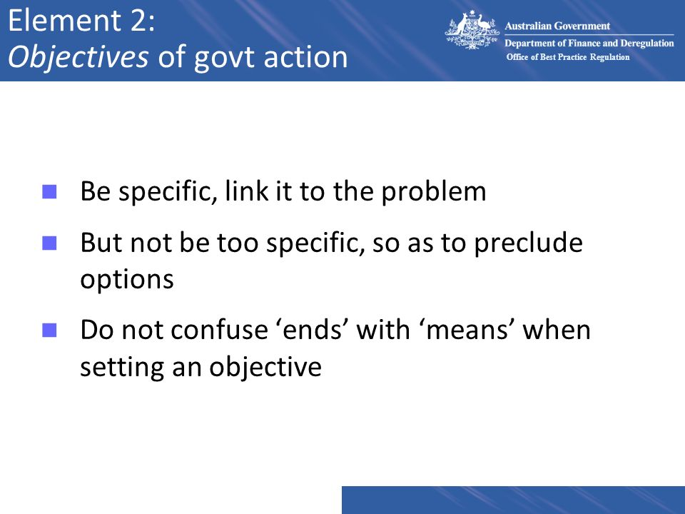 Element 2: Objectives of govt action