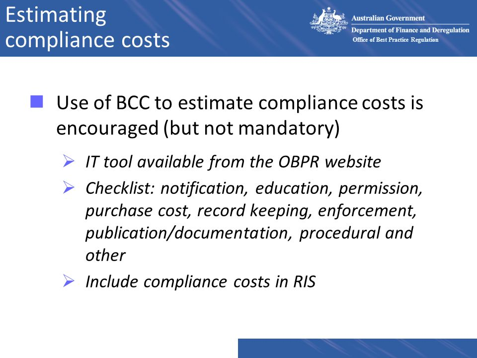 Estimating compliance costs