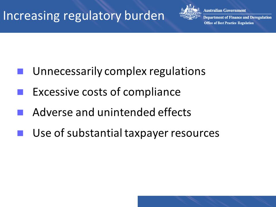 Increasing regulatory burden