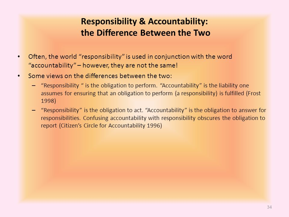 difference between authority accountability and responsibility management essay There are a few differences between responsibility and accountability which are presented in this article responsibility refers to the obligation to perform the delegated task.