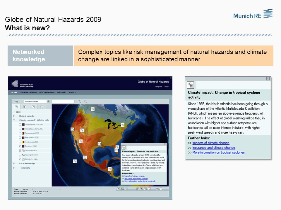 Globe of Natural Hazards 2009 What is new
