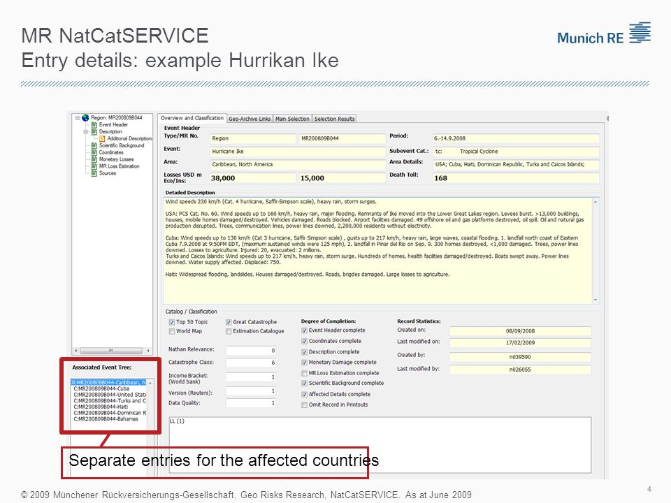MR NatCatSERVICE Entry details: example Hurrikan Ike