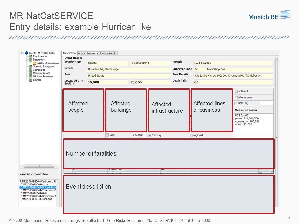 MR NatCatSERVICE Entry details: example Hurrican Ike