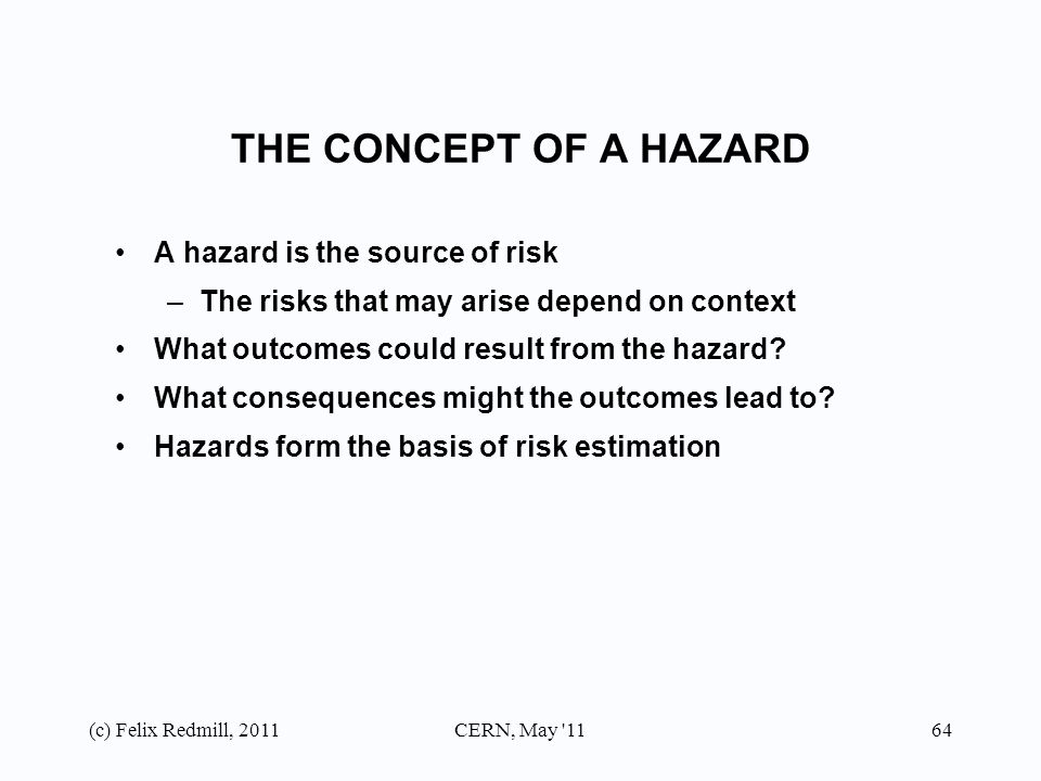 hazards risks and outcomes Often, several possible outcomes may be associated with an event or a task safe  work practices will  the hazards and risks associated with electricity include.