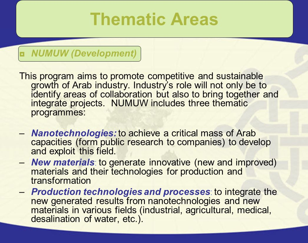 Thematic Areas NUMUW (Development)