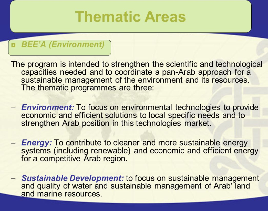 Thematic Areas BEE'A (Environment)