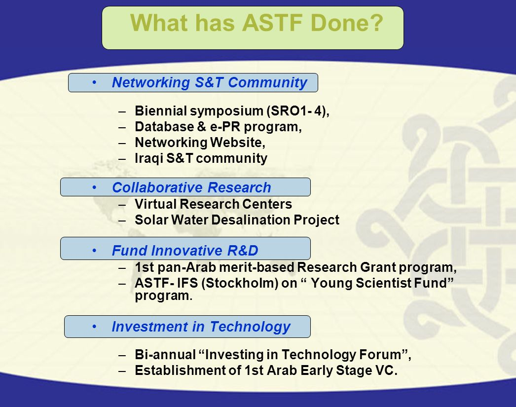 What has ASTF Done Networking S&T Community Collaborative Research