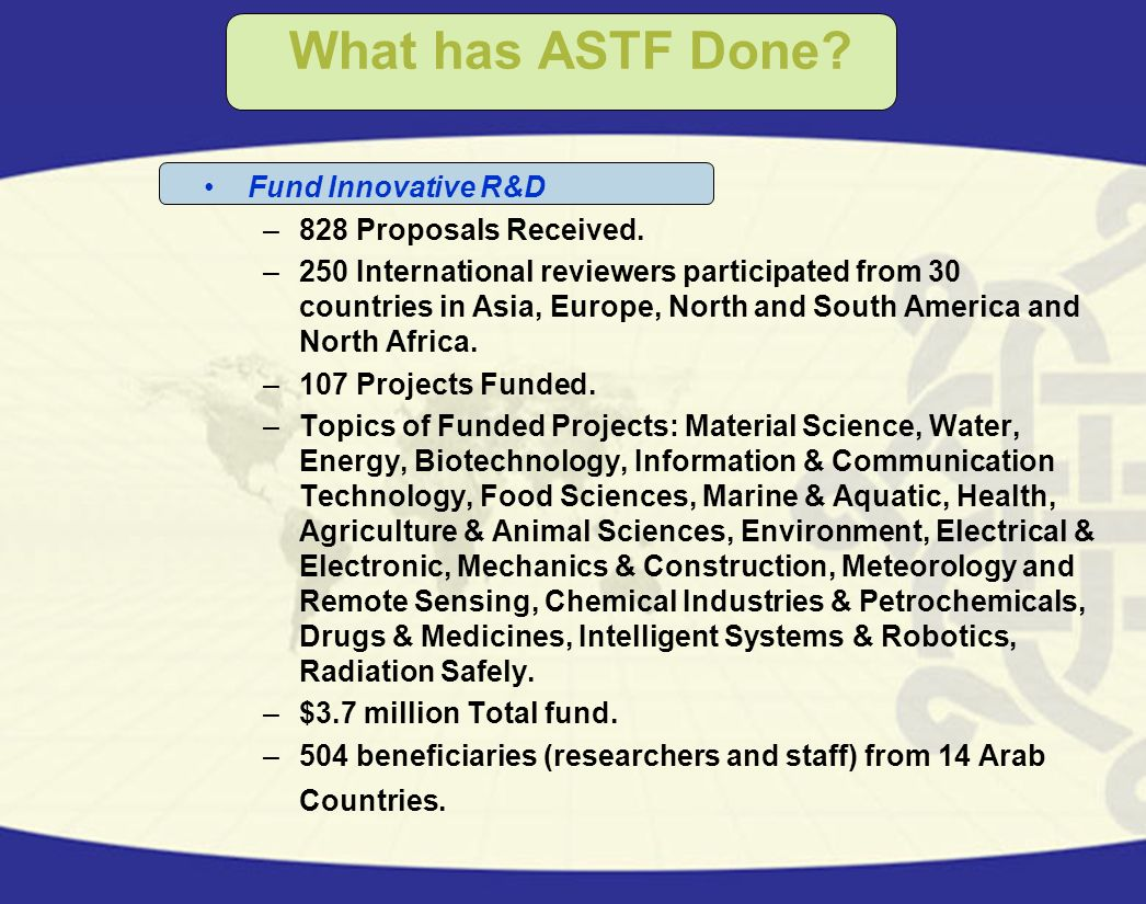 What has ASTF Done Fund Innovative R&D 828 Proposals Received.