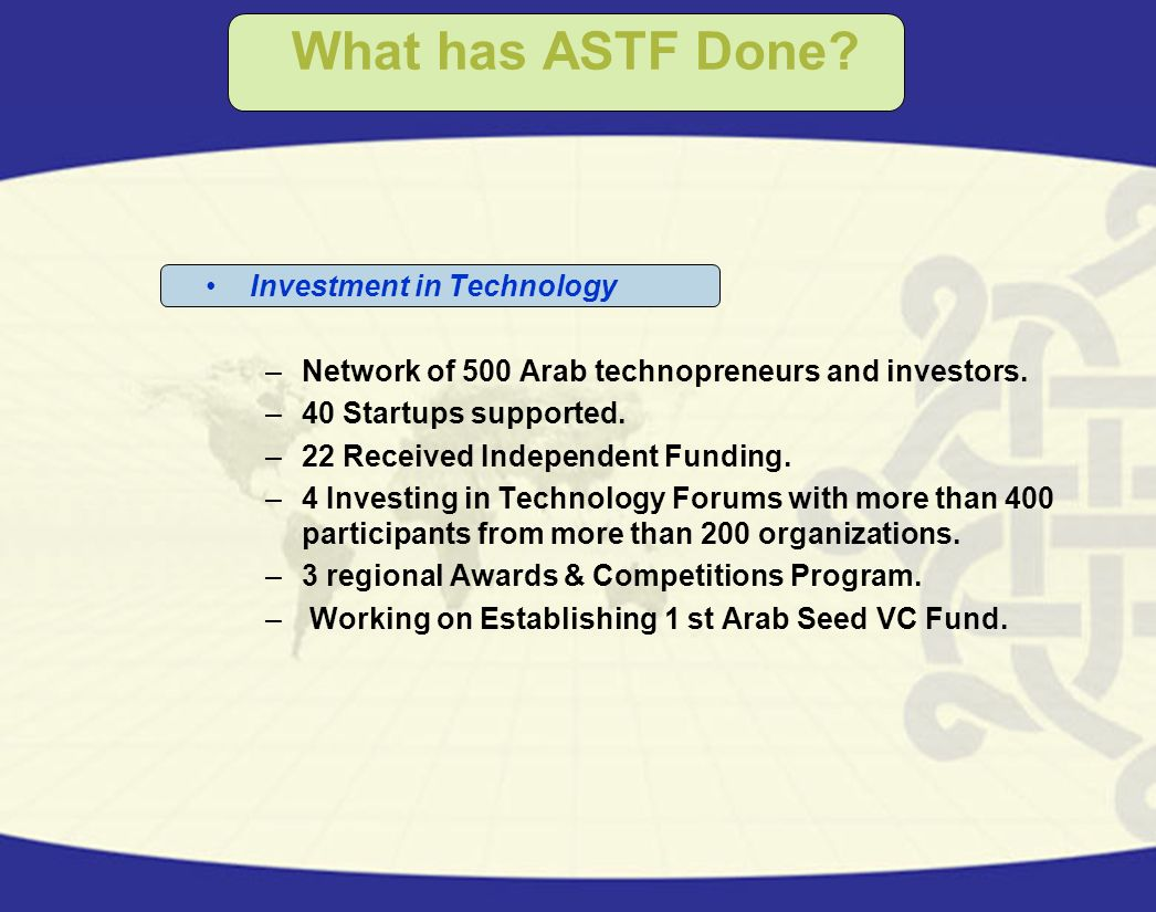 What has ASTF Done Investment in Technology