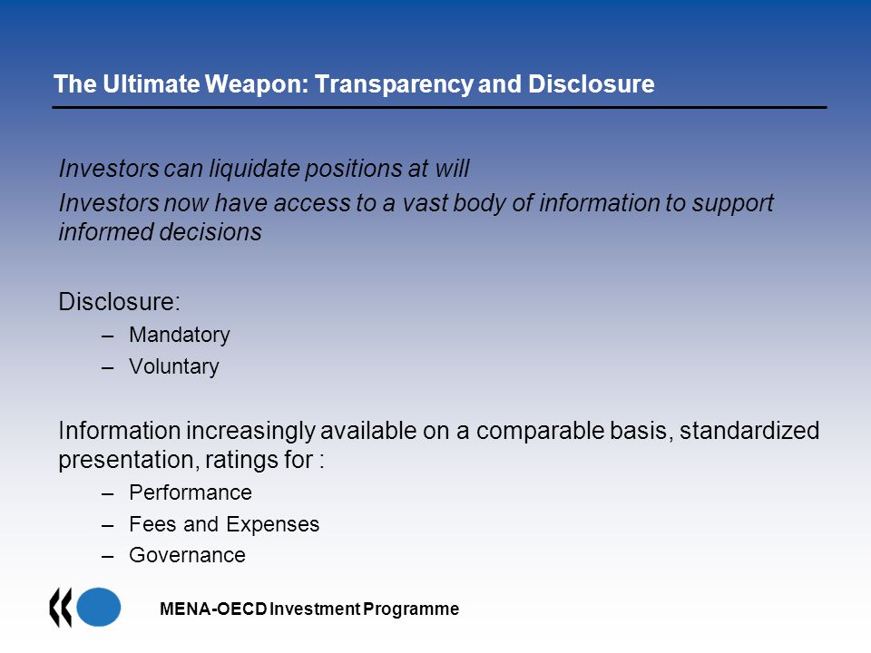The Ultimate Weapon: Transparency and Disclosure