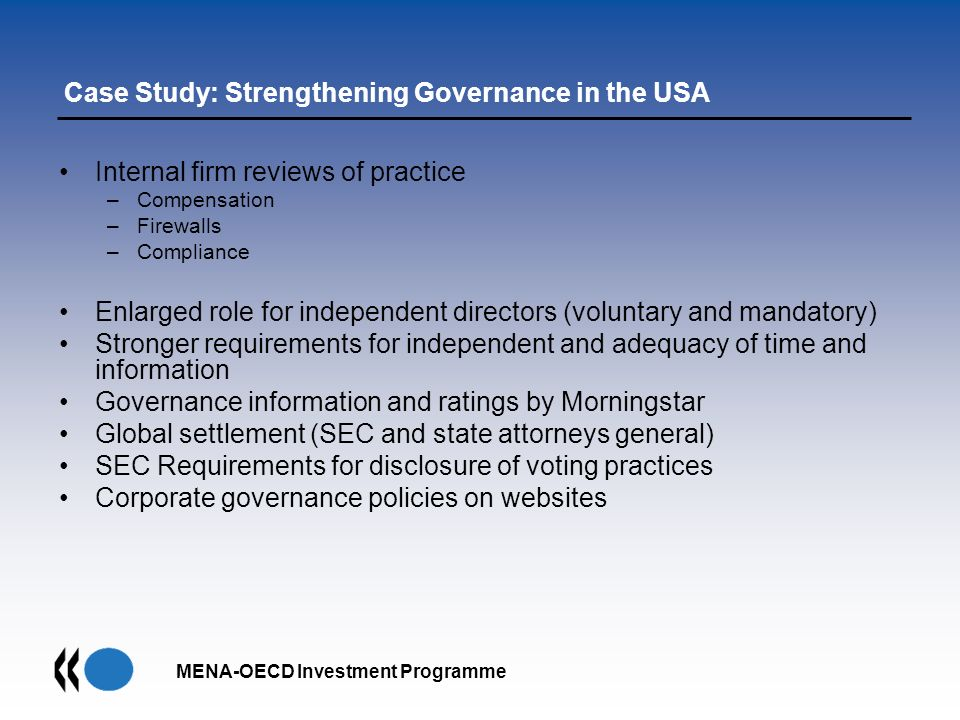Case Study: Strengthening Governance in the USA