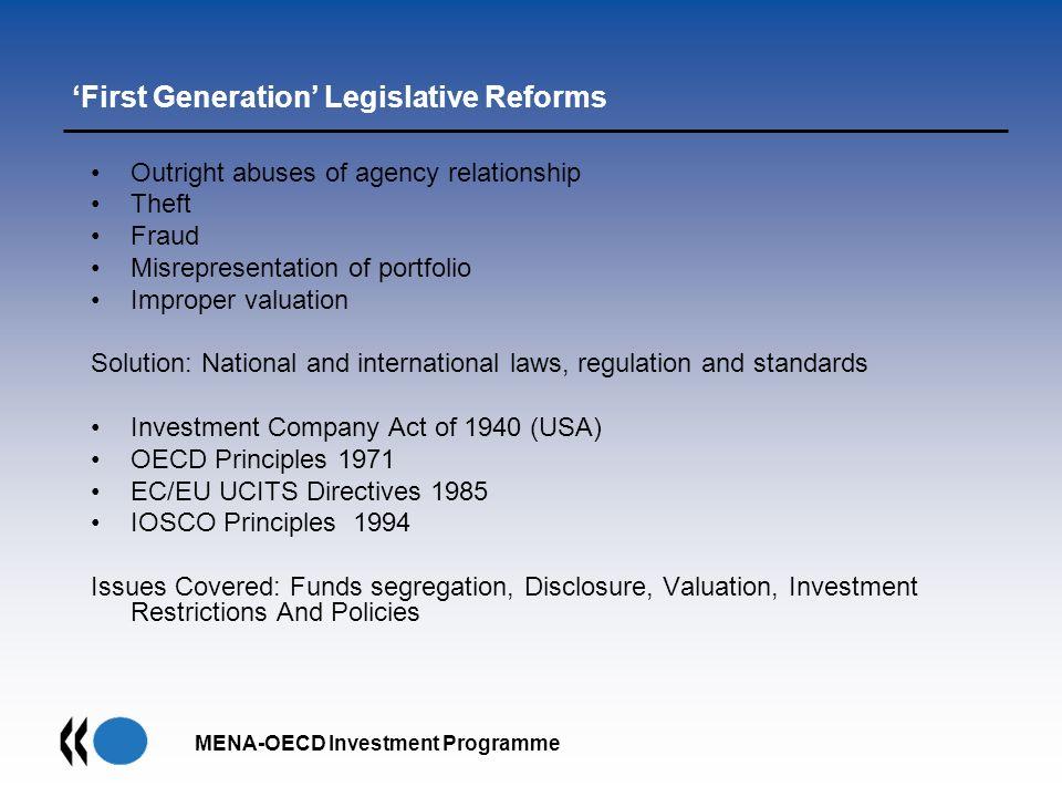 'First Generation' Legislative Reforms