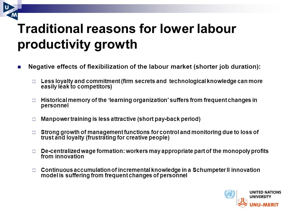 Traditional reasons for lower labour productivity growth