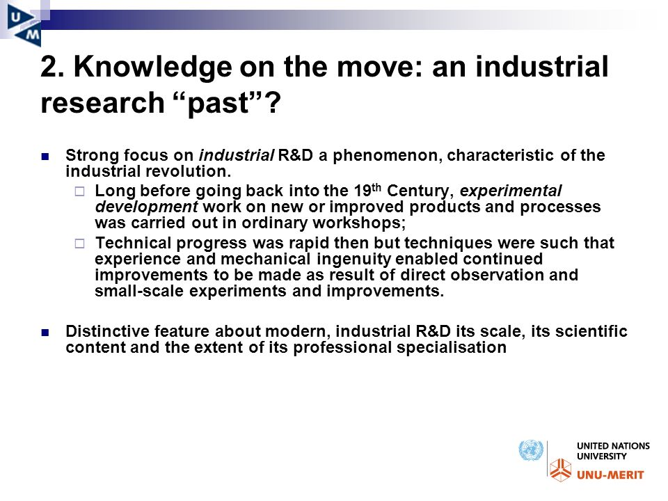 2. Knowledge on the move: an industrial research past