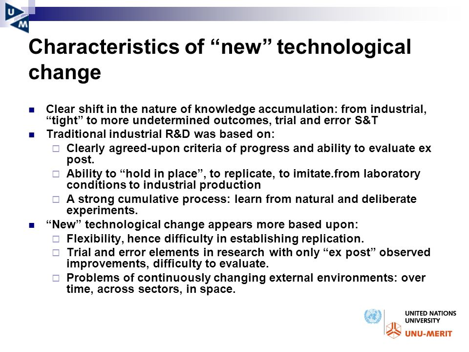 Characteristics of new technological change