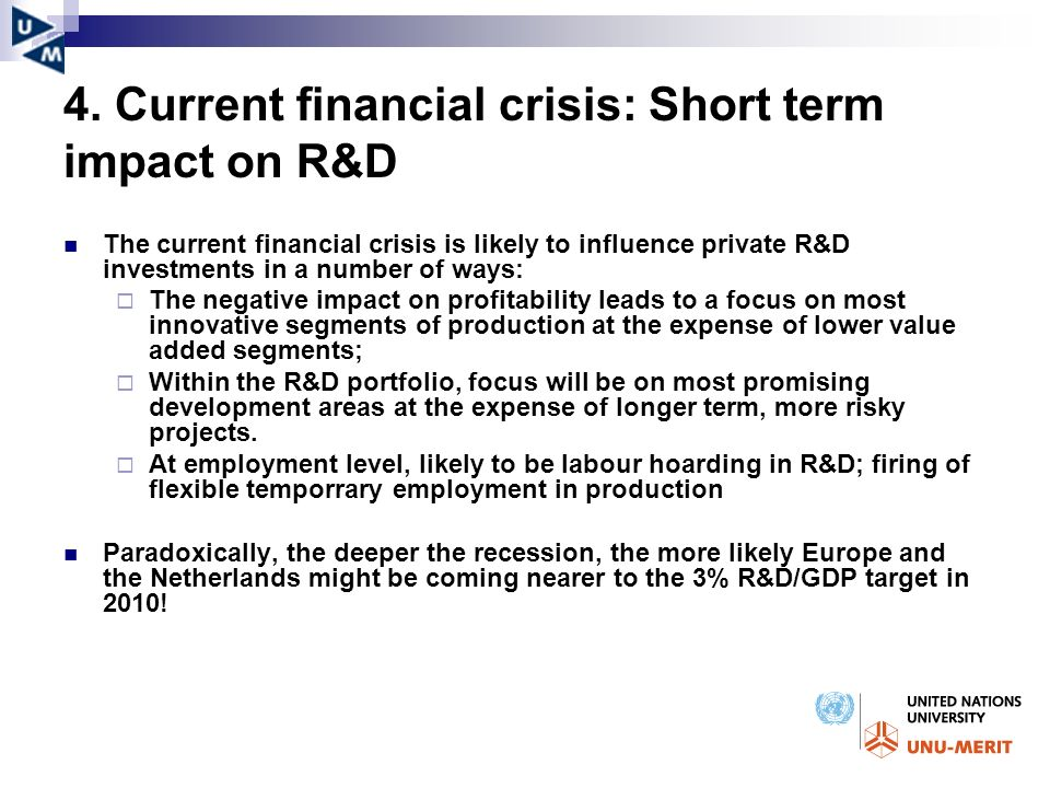 4. Current financial crisis: Short term impact on R&D