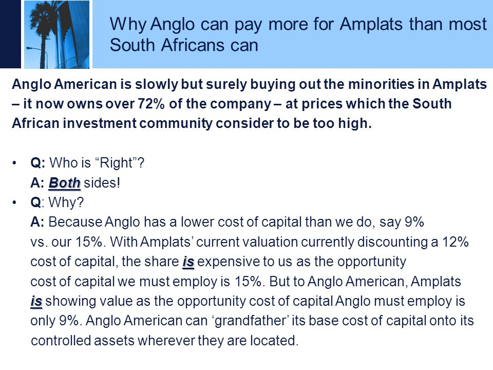 Why Anglo can pay more for Amplats than most South Africans can