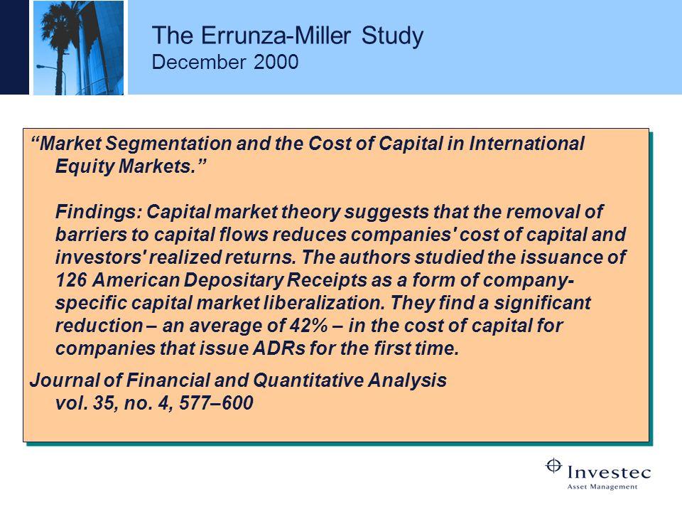 The Errunza-Miller Study December 2000