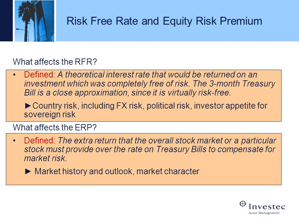 Risk Free Rate and Equity Risk Premium