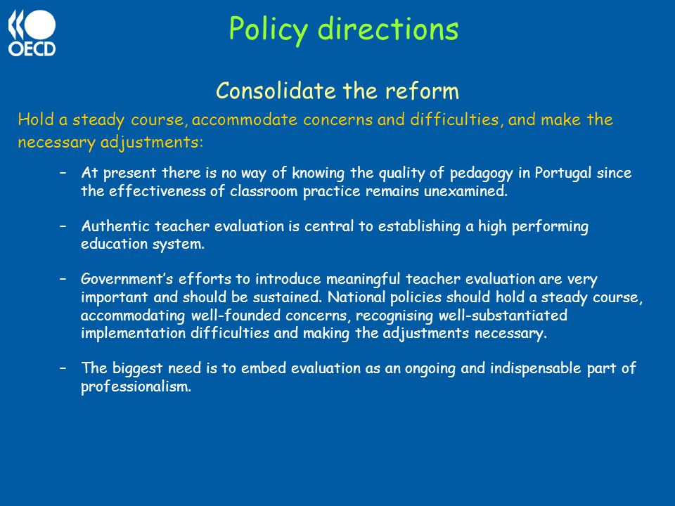 Consolidate the reform