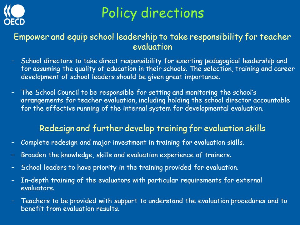 Redesign and further develop training for evaluation skills