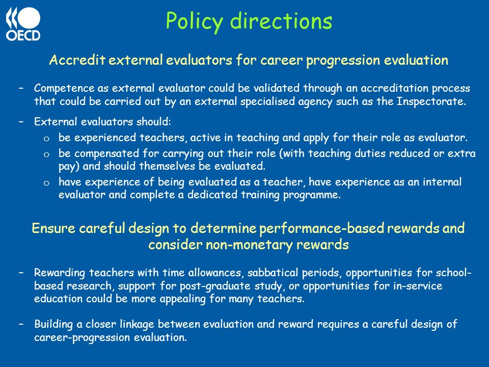 Accredit external evaluators for career progression evaluation