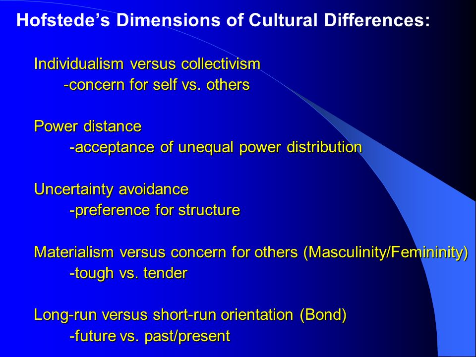 the individualism versus collectivism cultural impact on international management Collectivism essay examples liberty and the crazed society of collectivism the individualism versus collectivism cultural impact on international management.