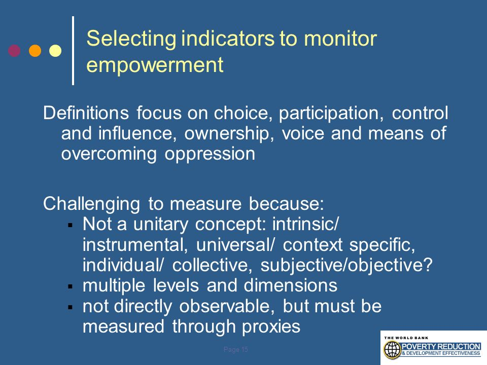 Selecting indicators to monitor empowerment