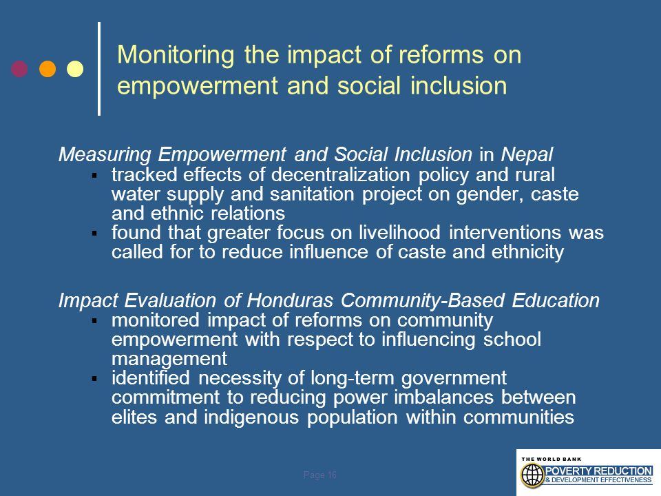 Monitoring the impact of reforms on empowerment and social inclusion