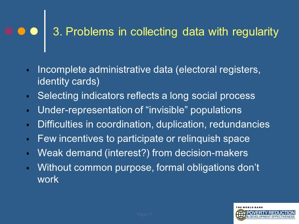 3. Problems in collecting data with regularity