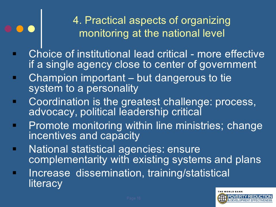 4. Practical aspects of organizing monitoring at the national level