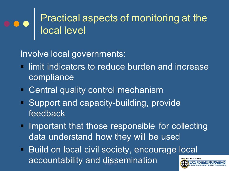 Practical aspects of monitoring at the local level