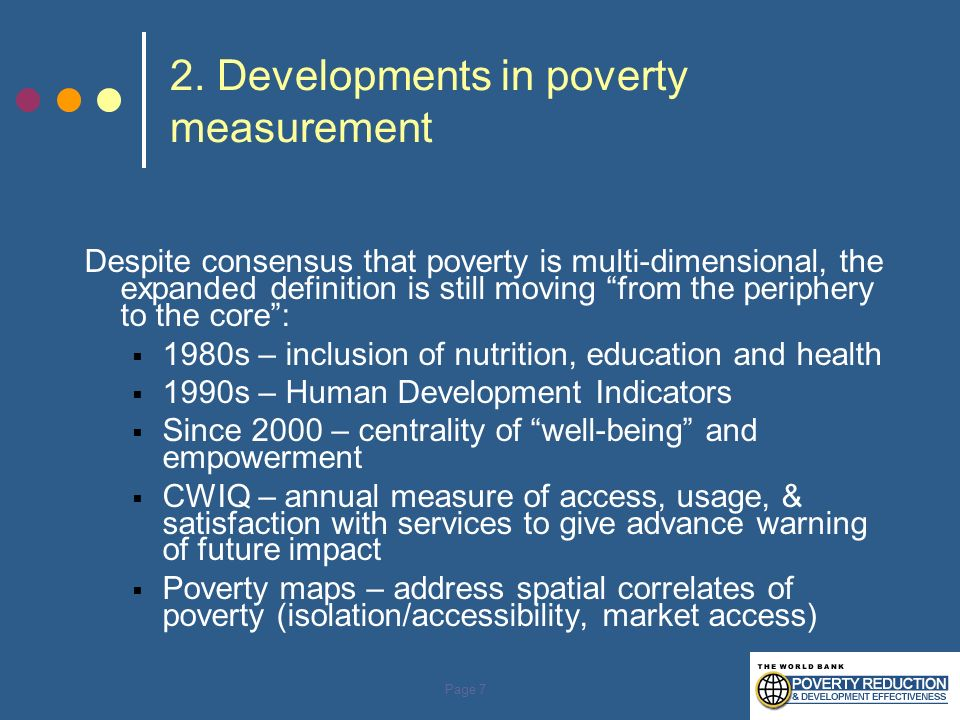 2. Developments in poverty measurement