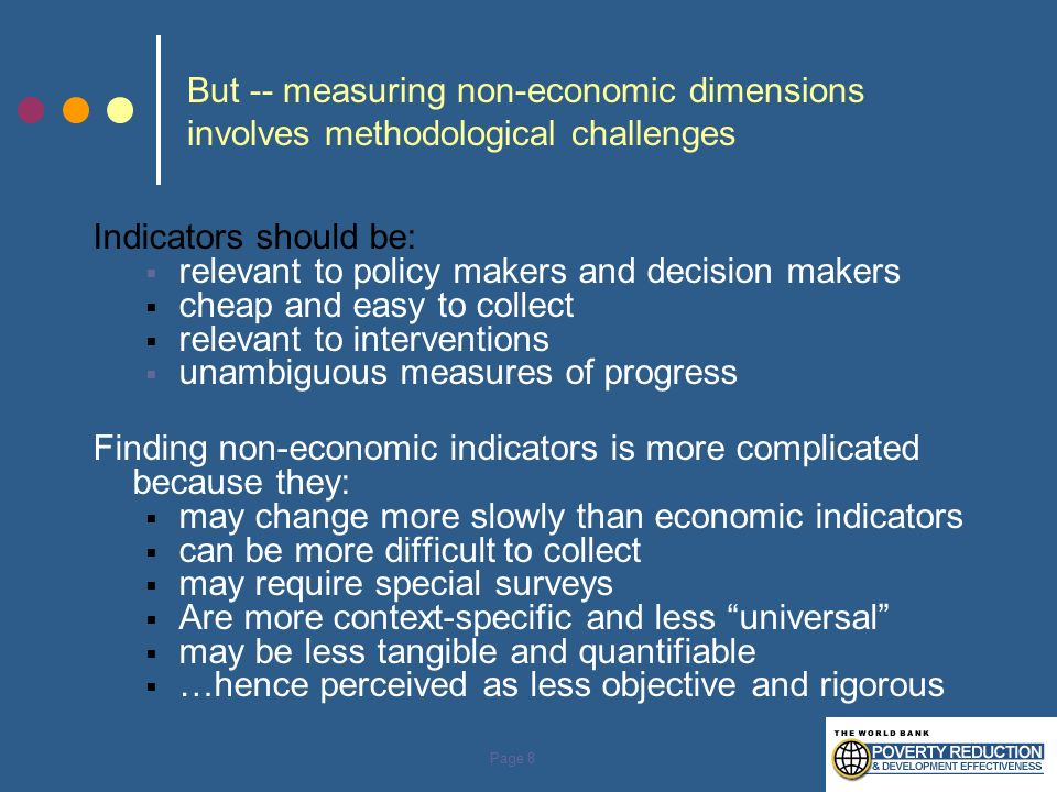 But -- measuring non-economic dimensions involves methodological challenges