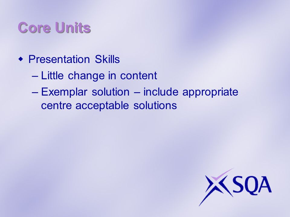Core Units Presentation Skills Little change in content