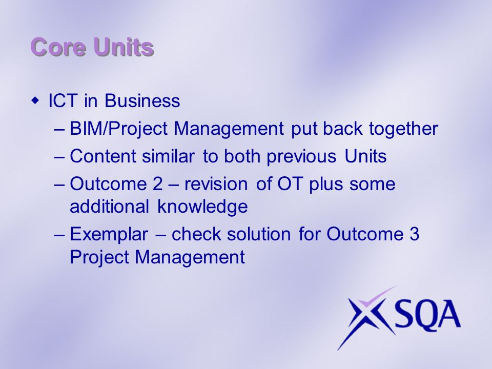 Core Units ICT in Business BIM/Project Management put back together