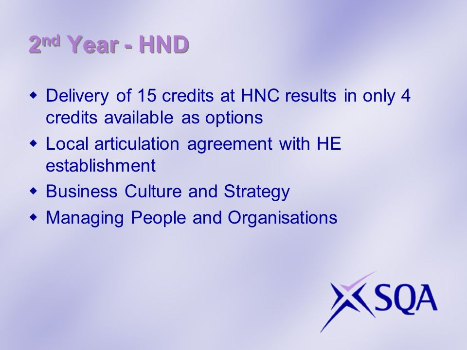 2nd Year - HND Delivery of 15 credits at HNC results in only 4 credits available as options. Local articulation agreement with HE establishment.