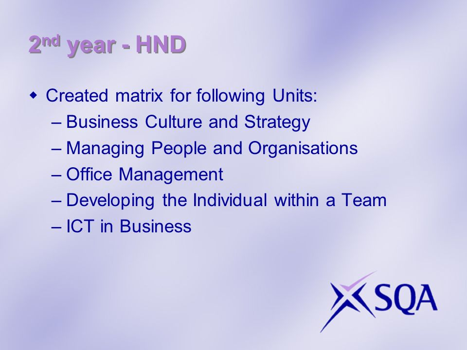 2nd year - HND Created matrix for following Units: